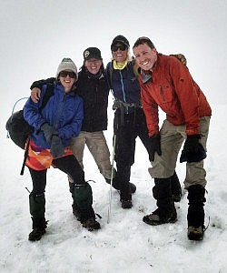 Summit of Mt St. Helens in a white out - Chad Hadsell and climbing partners